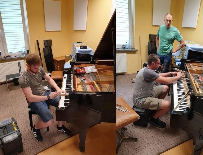 Układanie klawiatury w fortepianie C. Ebel & Sohne