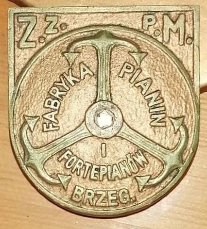 Napis firmowy Fabryki Fortepianów w Brzegu(zdj.autora)