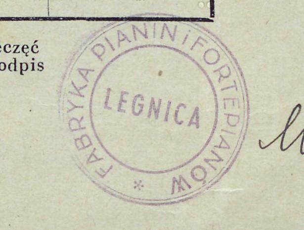 Pieczęć okrągła Fabryki Pianin i Fortepianów Legnica 1948 r. (AP o/Legnica)