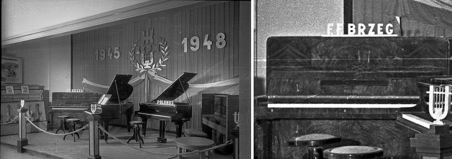 """Wystawa Ziem Odzyskanych. Stoisko ZZPM instrumenty """"Polonus"""" z F.F.Brzeg ( zdjęcie: Polska Agencja Prasowa)"""