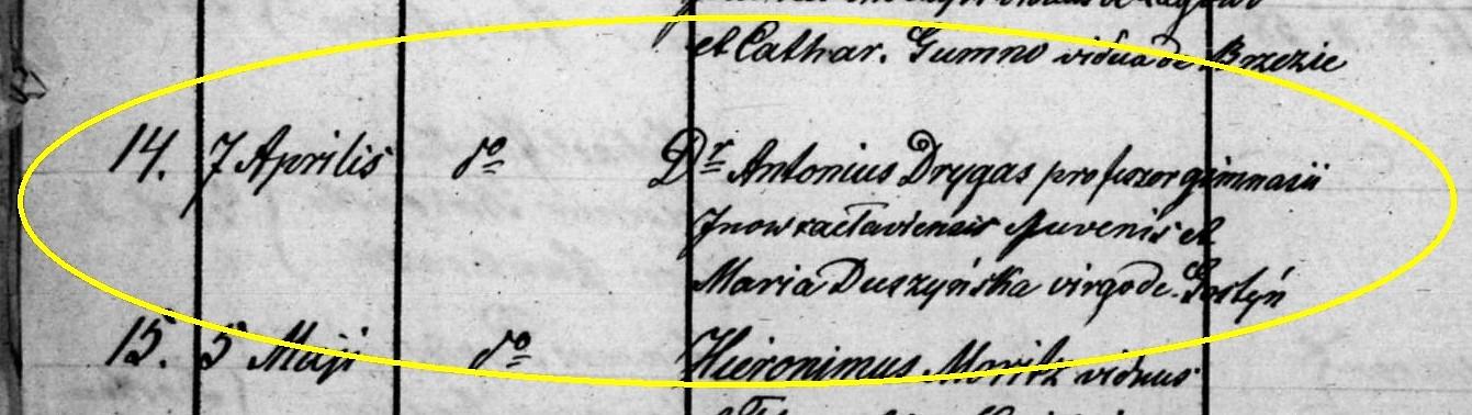 Fot. 4. Zapis z księgi parafialnej o ślubie Antoniego Drygasa z Marią Duszyńską.