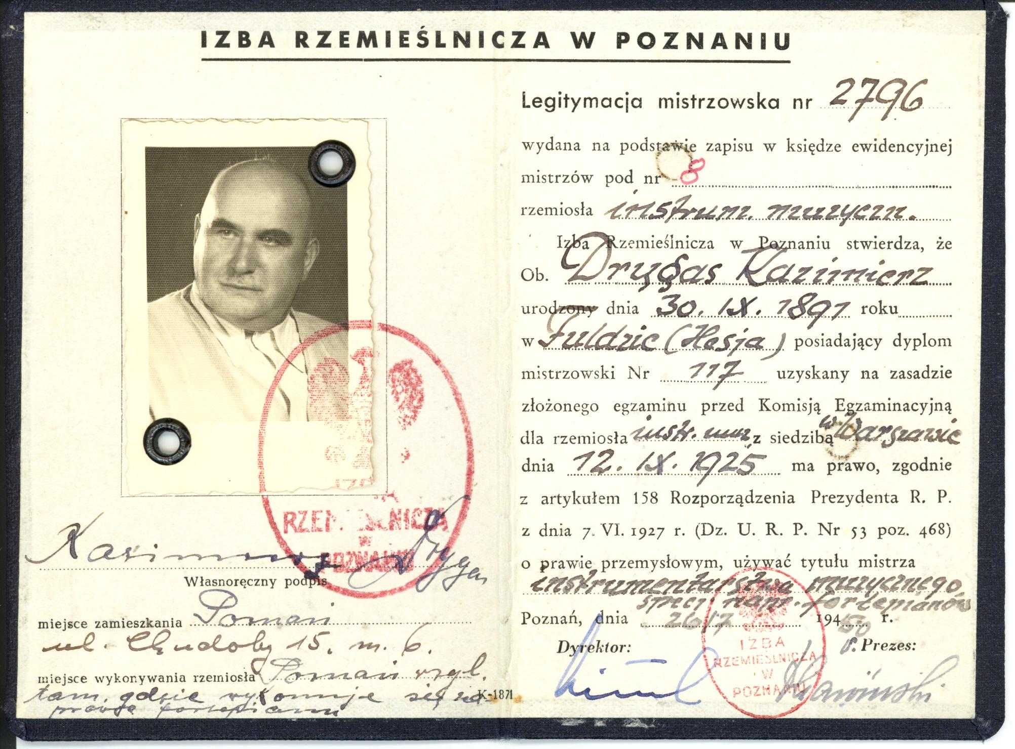 Legitymacja mistrzowska (prywatne archiwum rodzinne Macieja Drygasa)